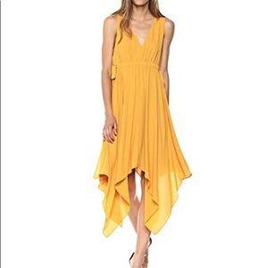 BCBG Handkerchief Midi Dress In Goldenglow. Small